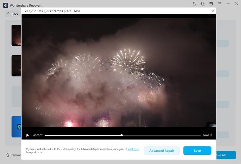 reparación de video- previsualización