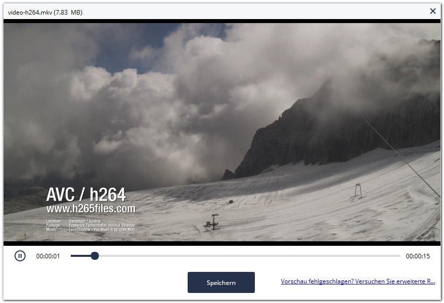 Vorschau reparierter Videodateien