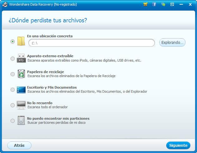 Recupera archivos perdidos con Wondershare Data Recovery paso 3