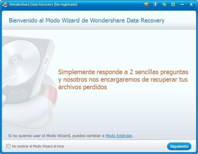 Recuperar Datos Perdidos del Disco Duro con wondershare data recovery paso 1