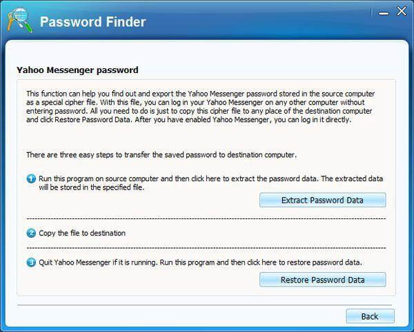 yahoo messenger password finder