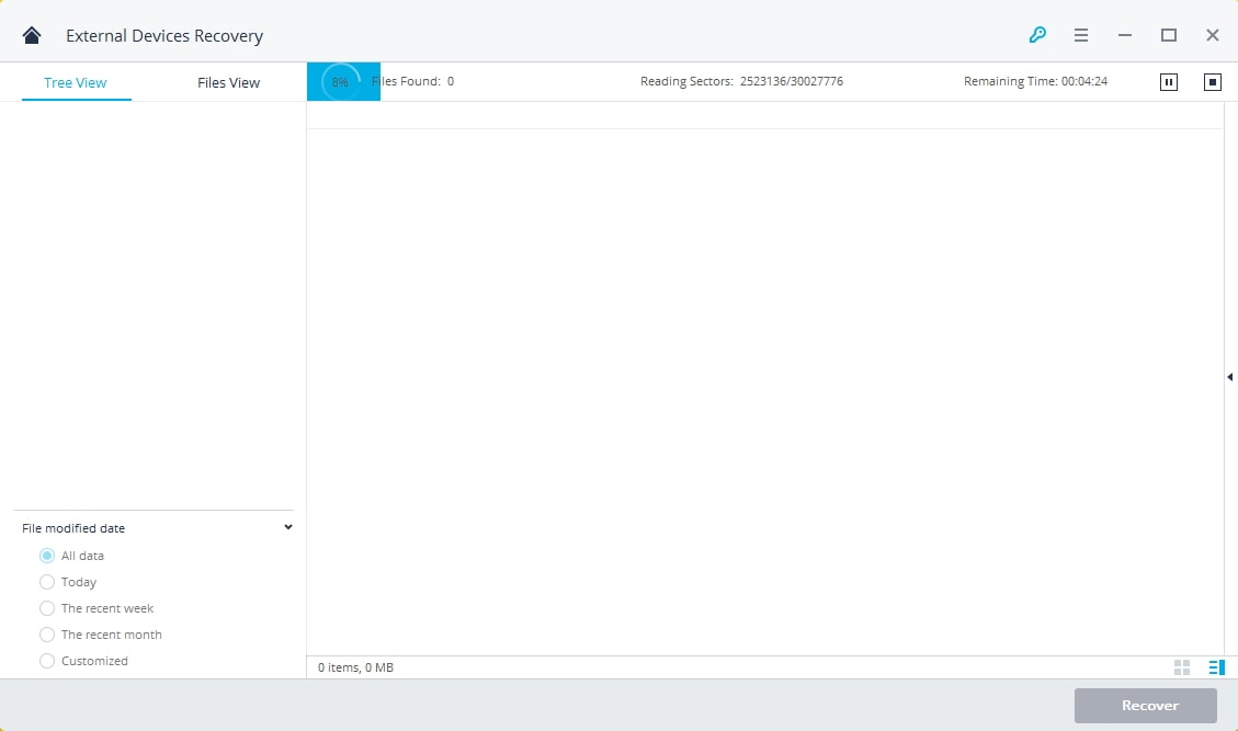 quick scan and search lost data