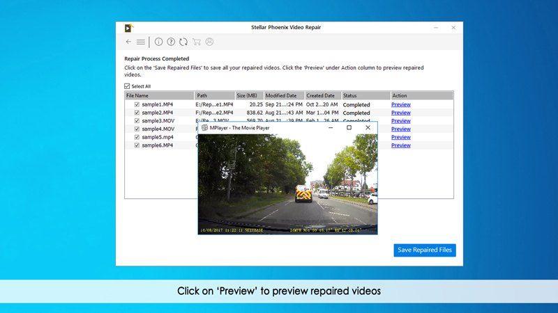 pré-visualizar arquivos de vídeo reparados