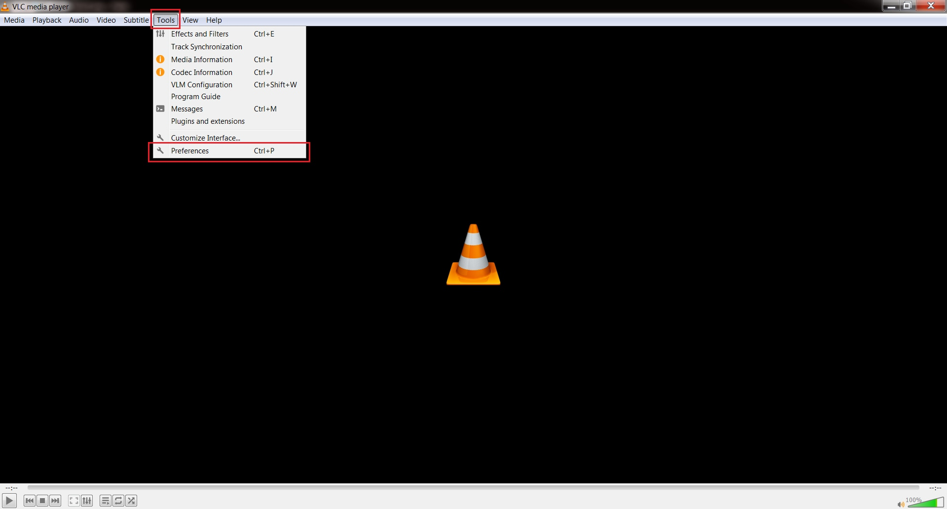 select the preferences on vlc