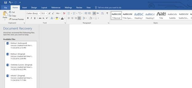 repair word file in MS Word 2016 step 1