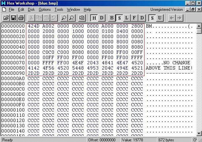 Hex Workshop hexadecimal codes
