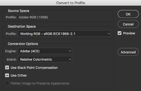 setting profile to srgb via edit command