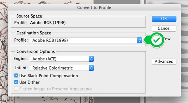 the image export in srgb