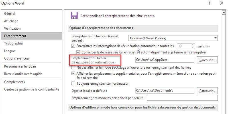 récupérer vos documents Word automatiquement