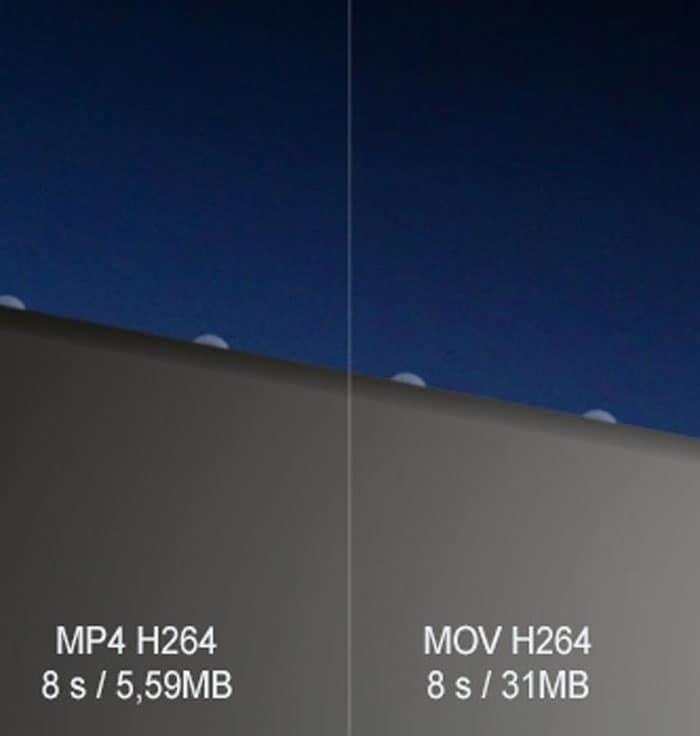 compare o tamanho entre mov e mp4