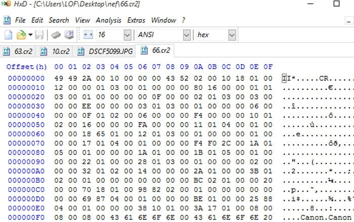 use hex editor to repair