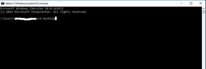 cd desktop command