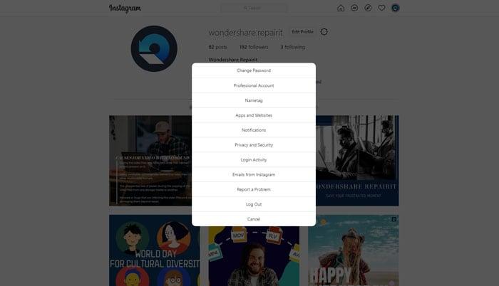 Go to settings on Instagram