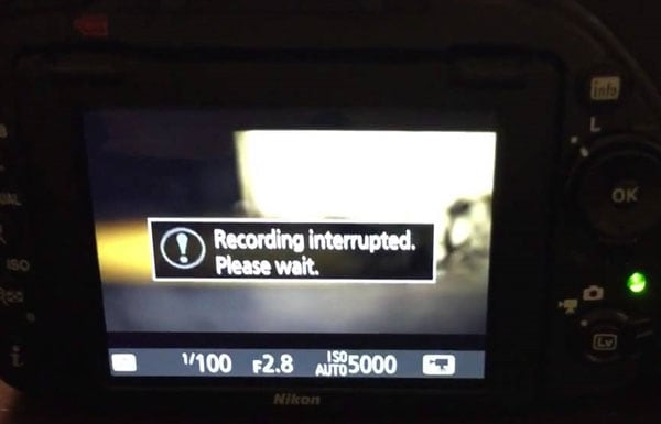 the recording is interrupted