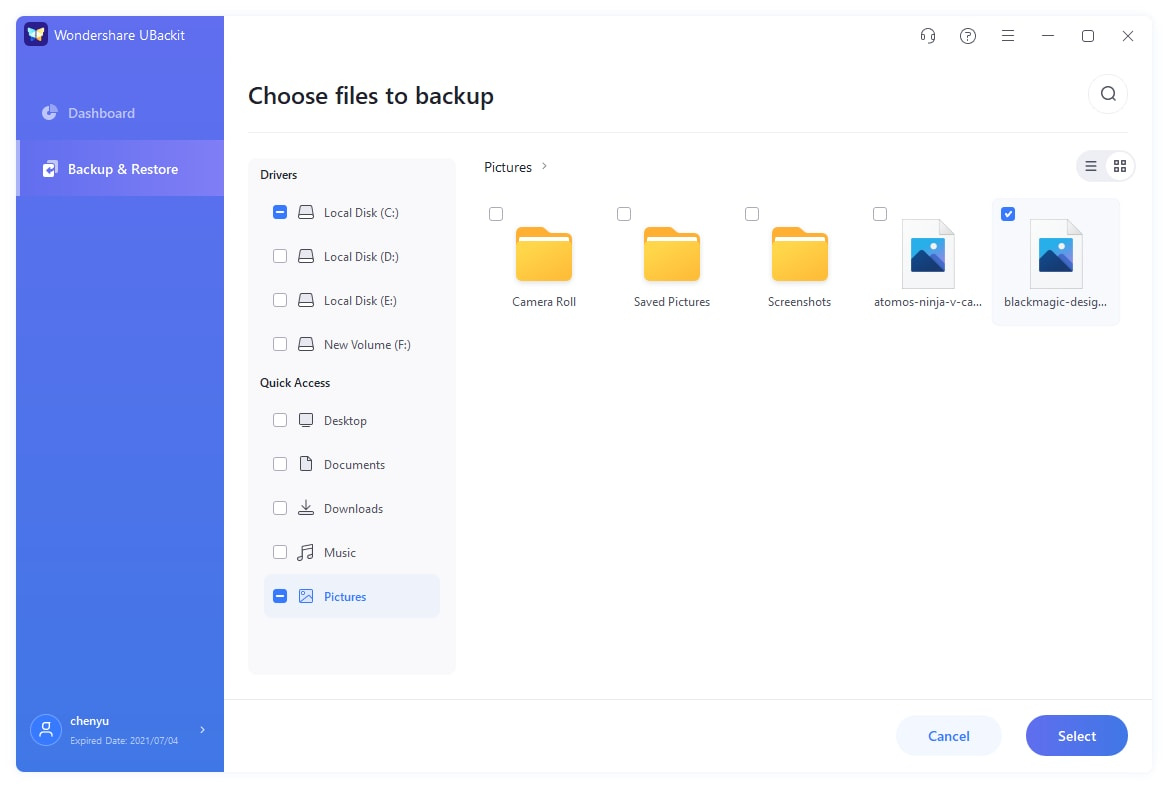 select files/folders from hard drive