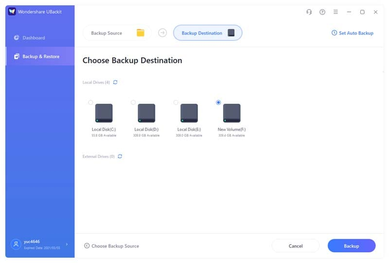 choose backup destination