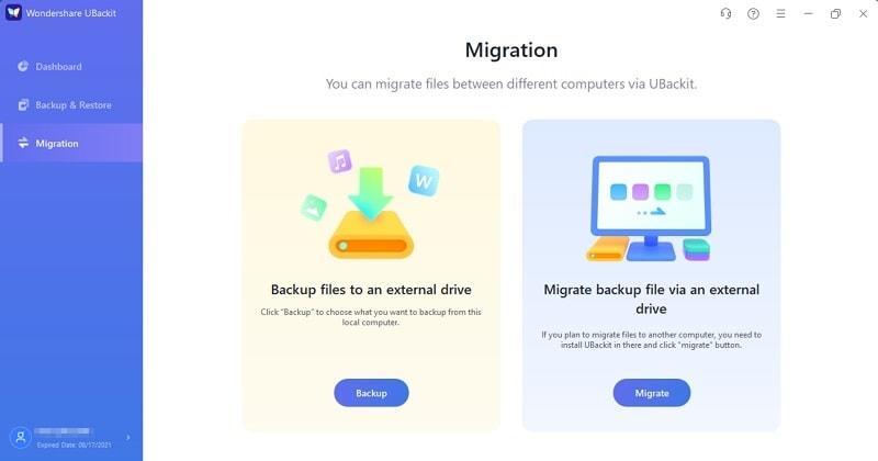 opción de migración de archivos