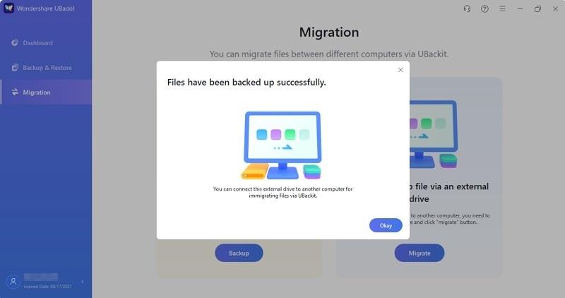 migrar archivos al disco externo con éxito