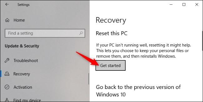 Restablecer PC Windows 10