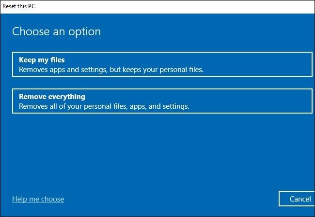 Opción de restablecer el archivo de Windows 10