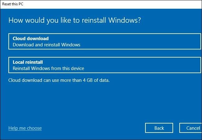 Descarga del sistema operativo del restablecimiento de Windows 10
