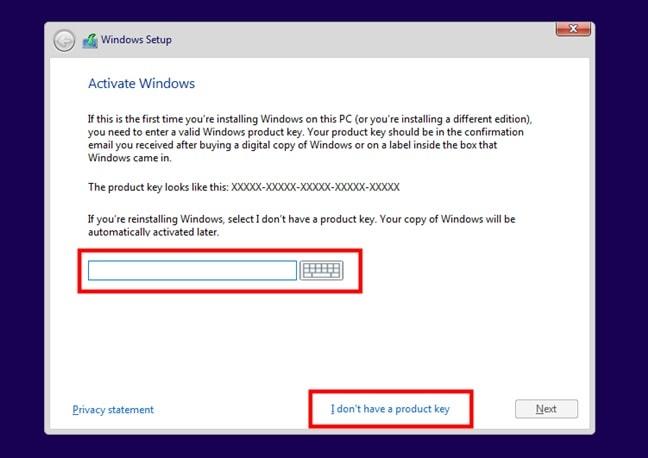 Introducir la clave de producto de Windows