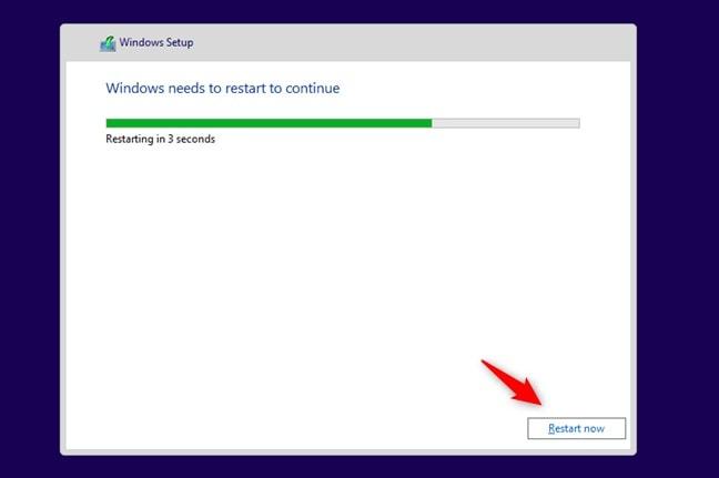 Reiniciar Windows después de la instalación
