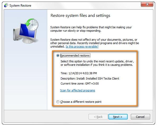 System restore method for undeleting profile