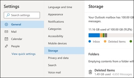 check outlook storage
