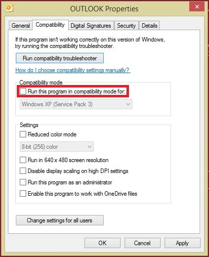 Outlook Compatibility Mode Disable
