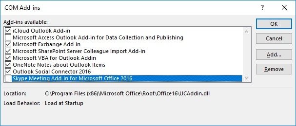 Remove Outlook Add-ins