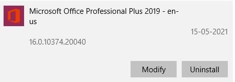 MS Office App Modify
