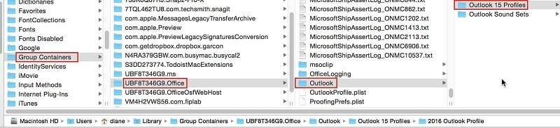 Locate Outlook Profile on Mac