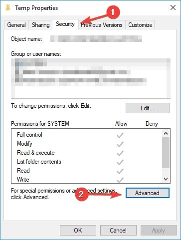 temp security advanced settings