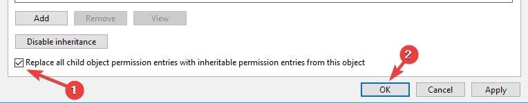 disable inheritance in Windows