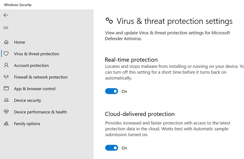 disable virus protection settings