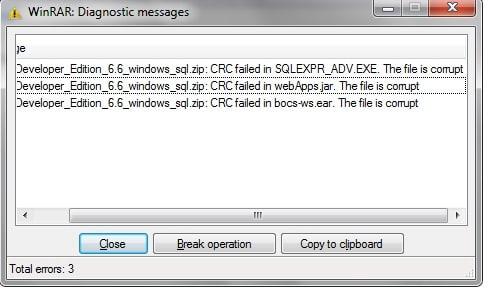 CRC Error in Zip File Banner