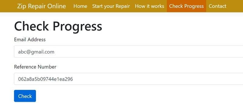 Online Zip Repair Progress