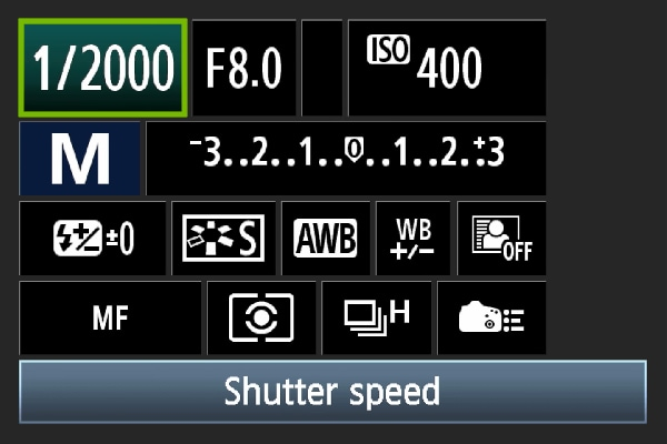 reset your shutter speed setting manually