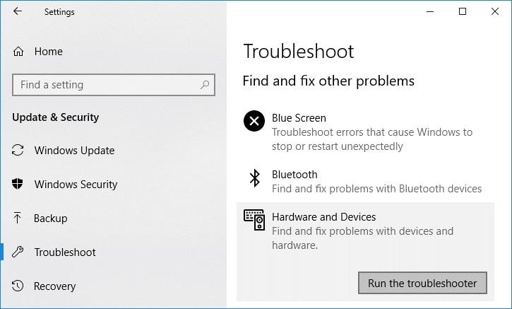 windows hardware troubleshooter