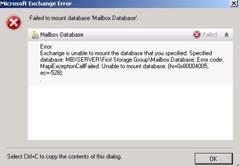 Exchange Database Mounting Error