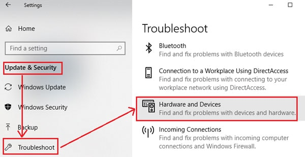 ardware and devices troubleshooter