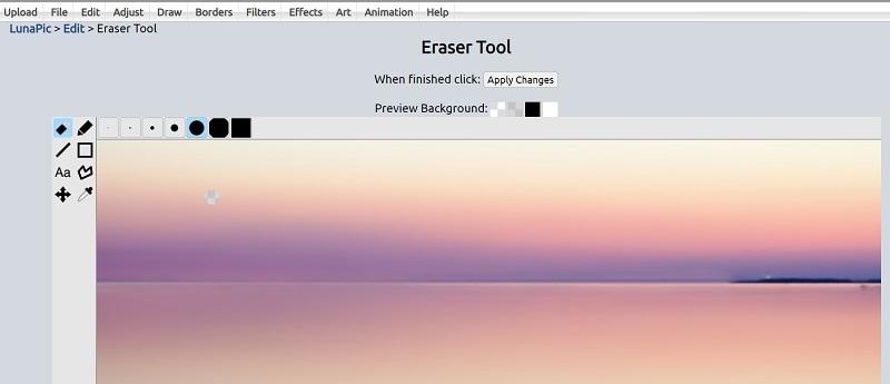 LunaPic Eraser Tool