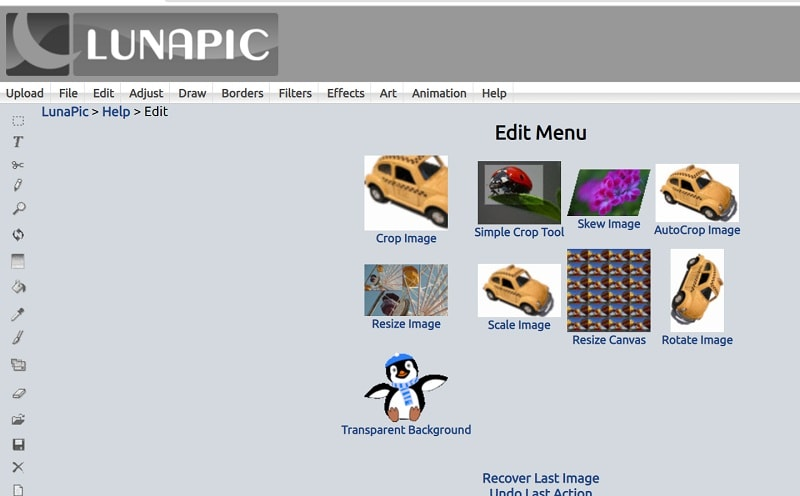 LunaPic Editing Options