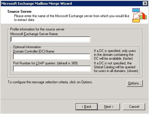 Exchange Mailbox Merger Server Details