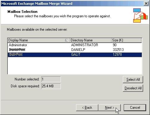 Exchange Mailbox Merger Select Mailbox