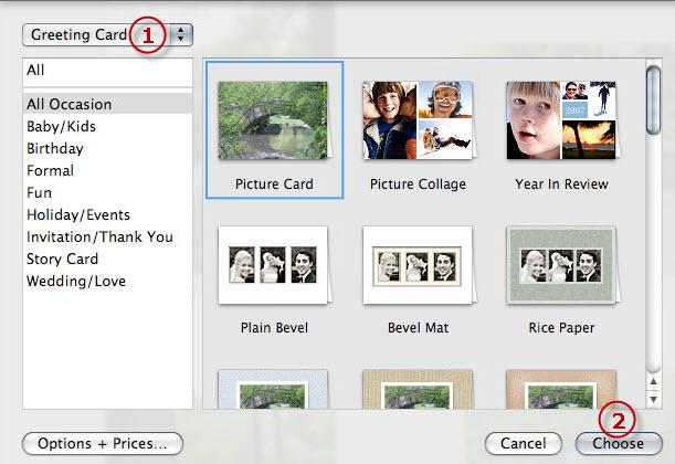 Iphoto card make greeting cards on mac using iphoto card builder create greeting card and choose theme m4hsunfo