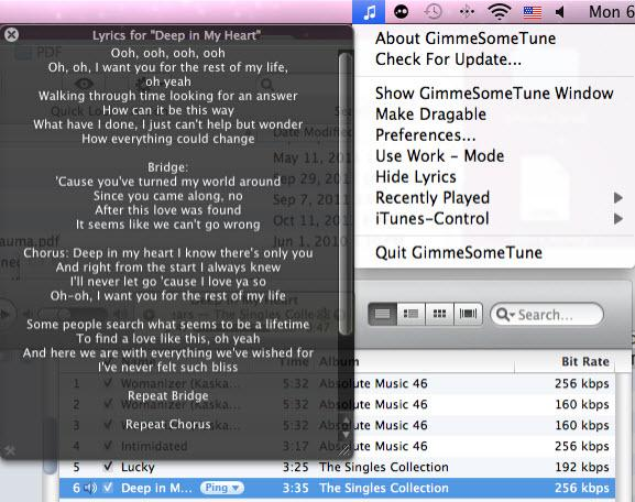 itunes lyric plugin gimme