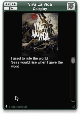 itunes lyric widget text