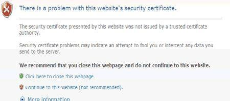 internet explorer certificate error